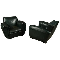Rare Pair of Leather Club Chairs from France, circa 1950