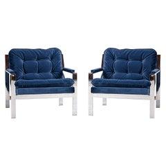 Milo Baughman Style Cy Mann Flat Bar Chrome Lounge Chair, New Navy Blue Velvet