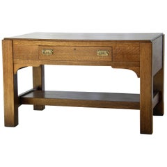 Arts and Crafts Mission Oak Library Table Desk with Drawer and Brass Hardware