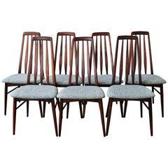 Set of 7 Niels Koefoed Restored Rosewood Eva Chairs in Blue - Koefoeds Hornslet