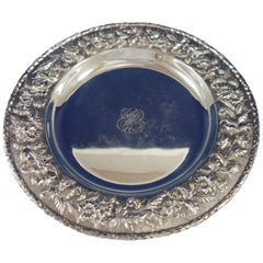 Repousse by Kirk Sterling Silver Serving Platter Tray Round #2503