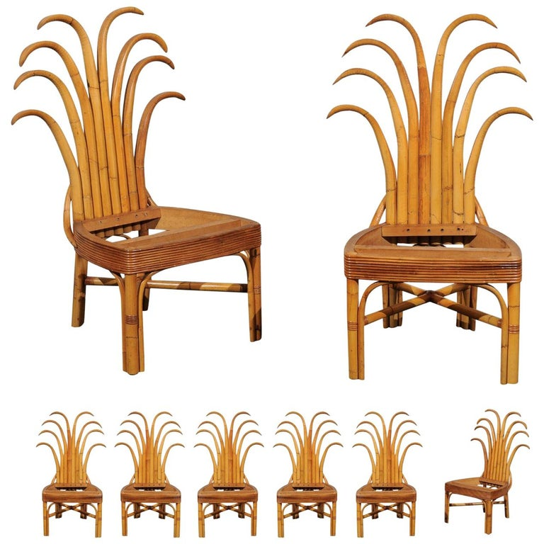 Jaw-Dropping Set of 8 Custom Made Palm Frond Dining Chairs, circa 1950 For Sale