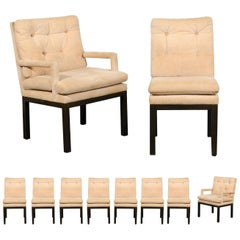 Sophisticated Set of 10 Brass Parsons Dining Chairs by John Stuart, circa 1968