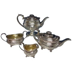 Thomas Bowen English Sterling Silver Coffee Set 4-Piece with Floral Border