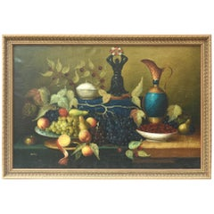 Large Antique Oil Painting Still Life, Signed Sanchez