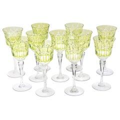 Set of 11 Crystal Wine Glasses, Great Chartreuse Color, Vintage