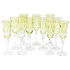 11 Champagne Flutes, Cut Crystal Vintage, Great Chartreuse Color