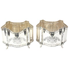 Pair of Silver Plated Planters or Decorative Holders, Pierced Details Vintage