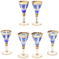 6 Antique Moser Cordial Glasses, Cobalt Blue Hand Trimmed Gold