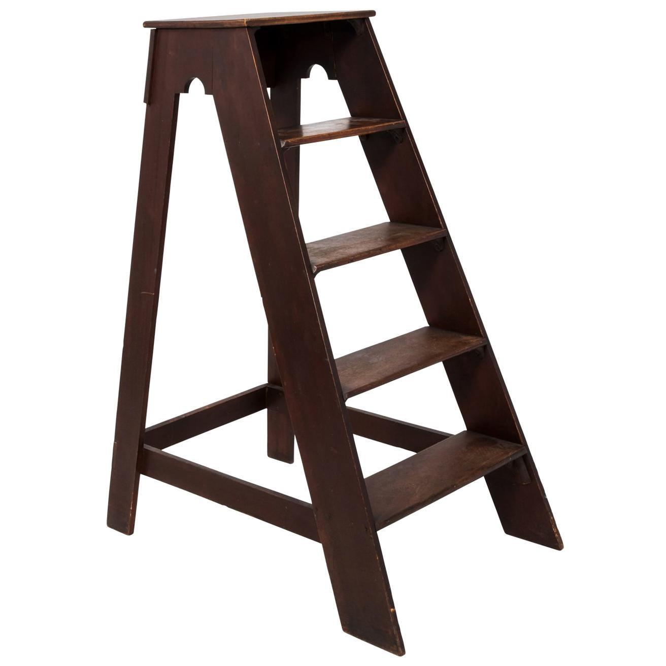 Early 20th Century Mahogany Ladder Steps