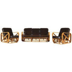 Mid-Century Modern Rattan Sofa and Lounge Chairs Paul Frankl Style, 1950s