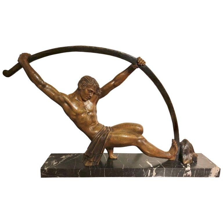 """D. H. Chiparus """"L'age Du Bronze"""" Bending Bar Man, Large Size For Sale"""