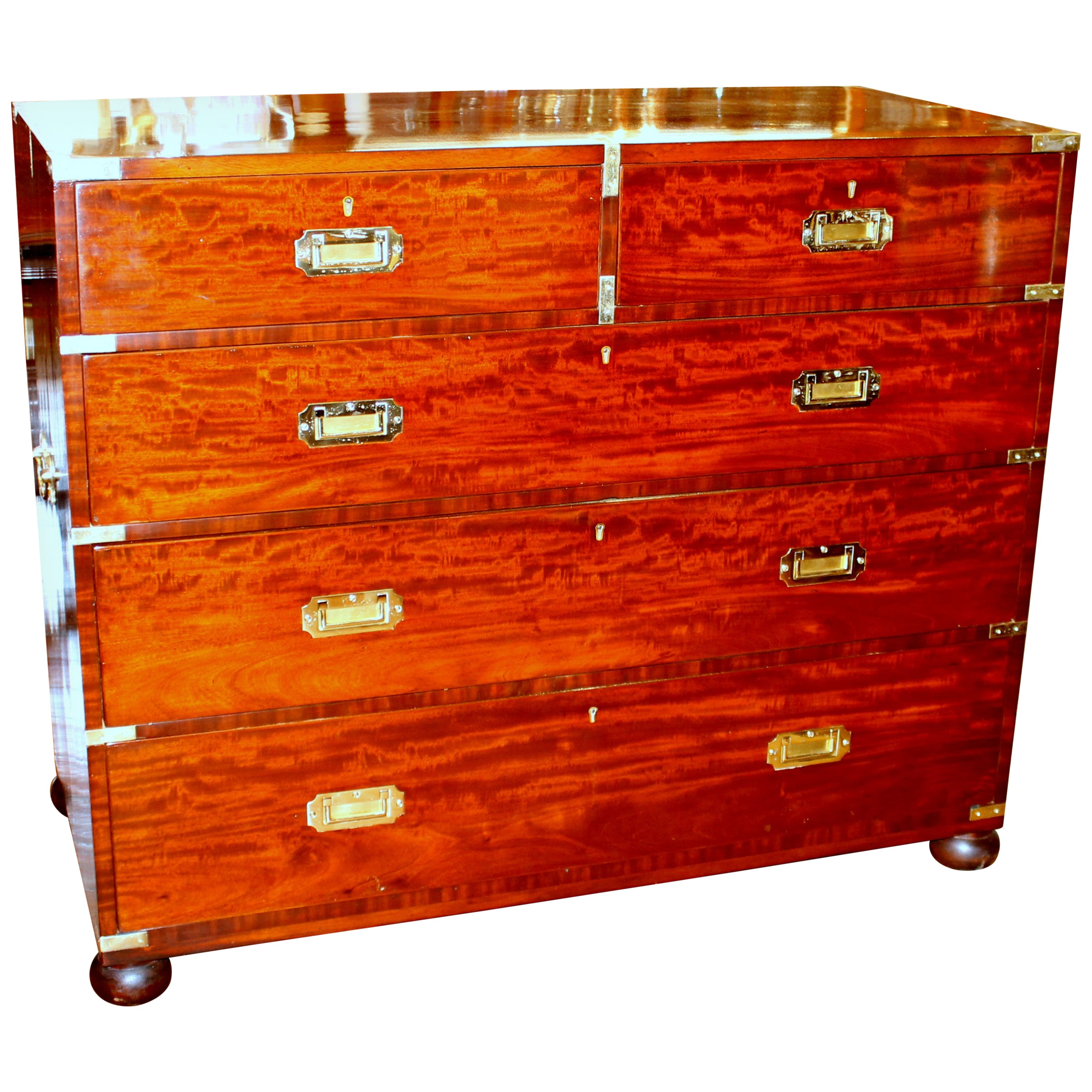 Antique English Inlaid Figured Mahogany Campaign/Military Style Chest of Drawers