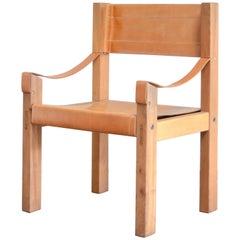 Rare Pierre Chapo Saddle Cognac Chair