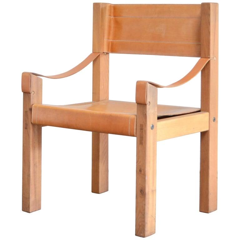 Rare Pierre Chapo Saddle Cognac Chair For Sale