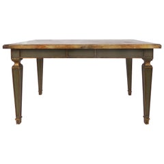 Faux Painted Writing Library Table with Green and Gilt Tapering Legs