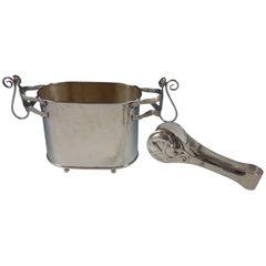 Emilia Castillo Mexico Silver Plate Ice Bucket Set 2-Piece with Monkey Motif