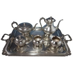 Durham Sterling Silver 5-Piece Tea Set and Tray with Gadroon Border #223