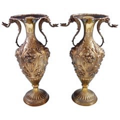Camusso Peruvian Sterling Silver Vases Pair with Applied Winged Griffins