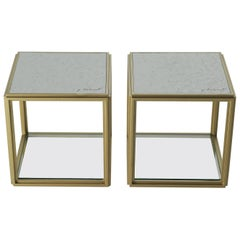 Collection of 2 Brass Low Tables, Sandcast Aluminum Textured White Top in Stock