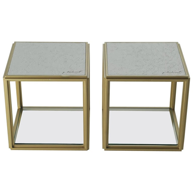 Collection of 2 Brass Low Tables, Sandcast Aluminum Textured White Top in Stock For Sale