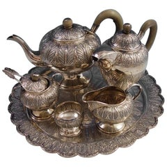 Malaysian Sterling Silver Tea Set 7-Piece Gift to Walter Mondale VP of USA