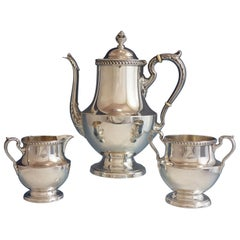 Georgian by Poole Sterling Silver Tea Set 3-Piece with Gadroon Border #1027