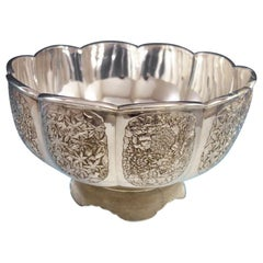 Japanese .950 Silver Centerpiece Bowl with Flowers Leaves Butterflies