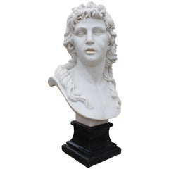 Classical Hand Carved White Marble Female Bust with Black Marble Base