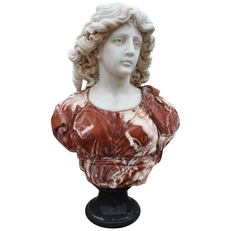 1990s Bust of Woman Hand Carved in Carrara White and Alicante Red Marble 1