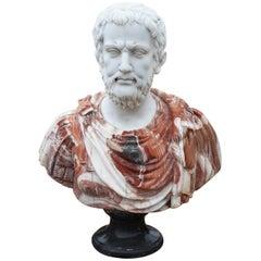 Büste eines Römers, handgefertigt aus weißem Carrara und rotem Alicante Marmor, 1990er