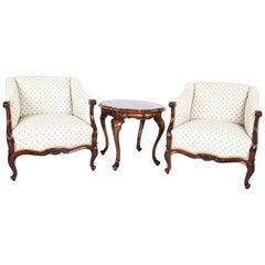 Barokk Style Two Armchairs with Table, Walnut from 1890