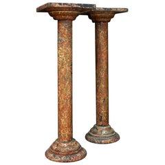Pair of Faux Marble Columns, circa 1880