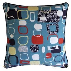 "Vintage Pillow ""Pebbles"" in 1950s Fabric by British Designer Jacqueline Groag"