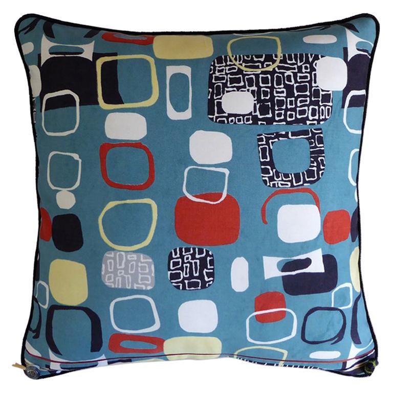 "Vintage Pillow ""Pebbles"" in 1950s Fabric by British Designer Jacqueline Groag For Sale"