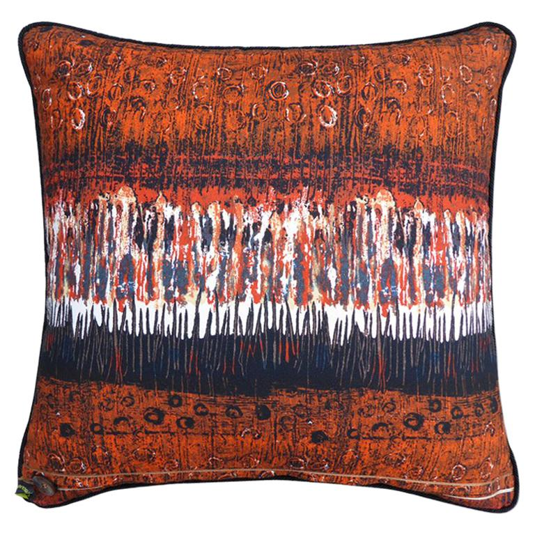 """Vintage Pillow """"Variations"""", 1970s Fabric by Textile Designer Nicola Woods For Sale"""