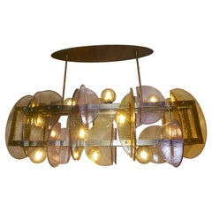 Contemporary Italian Amber & Amethyst Murano Glass Gold Bronze Finish Chandelier