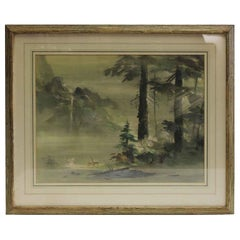 155 Framed Imaginary Landscape No. ii from the Bambi Illustrator Tyrus Wong