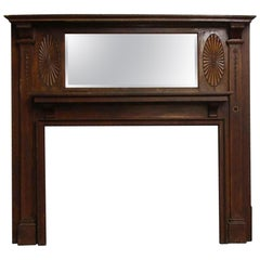 1905 Wooden Mantel with Bevelled Mirror