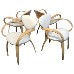 Four Cherner Style Natural Beech Armchairs with White Leather Upholstery