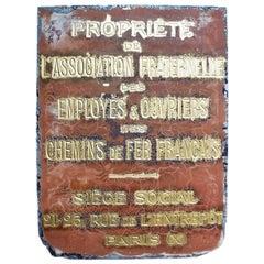Paris Association Railway Plaques, circa 1920