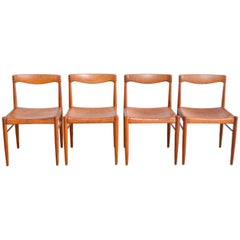 Henry W. Klein Cognac Saddle Leather Dining Chairs for Bramin Set of 4