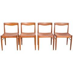 Henry W. Klein Cognac Leder Esszimmerstühle für Bramin, Vierer Set