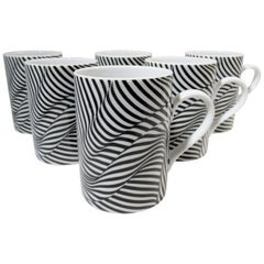 Set of 6 Robert & Trix Haussman Postmodern Swid Powell Black Stripes Mugs