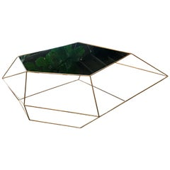 Italian Rhomboidal Sculptural Brass and Glass Coffee Table