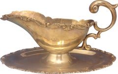 Camusso Sterling Silver Gravy Boat and Underplate with Scrolly Border