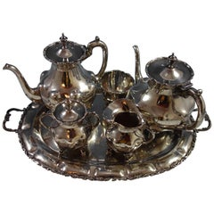 A. Torres Vega Mexican Sterling Silver Tea Set 5-Piece with Tray