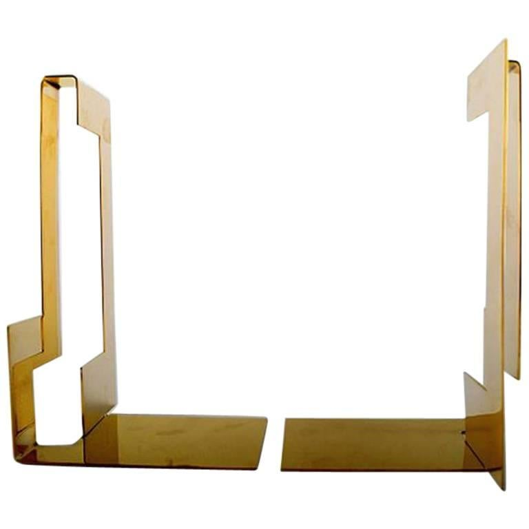 Pair of Polished Brass Bookends Designed by Folkform for Skultuna For Sale