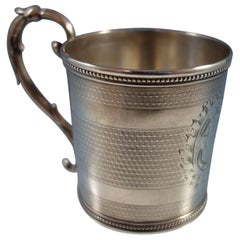 Tifft & Whiting Coin Silver Baby Cup Engine Turned Bright Cut Design