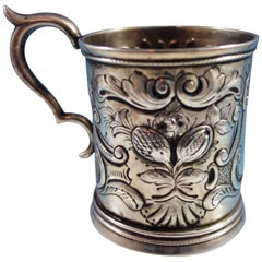 Coin Silver Baby Cup with Repoussed Fruit and Scrollwork